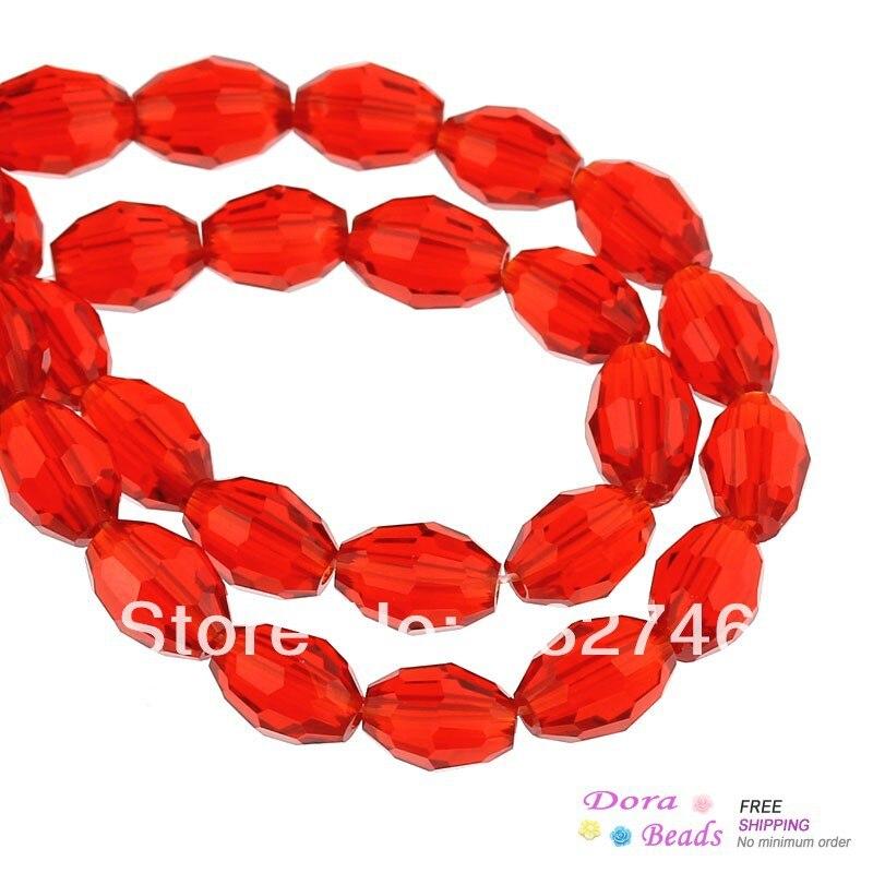 "8SEASONS Crystal Glass Loose Beads Oval Red Faceted 8mm <font><b>x</b></font> 6mm( <font><b>3</b></font>/<font><b>8</b></font>"" <font><b>x</b></font> 2/<font><b>8</b></font>""),55.5cm(<font><b>21</b></font> 7/<font><b>8</b></font>"")long, 1 Strand(approx 72PCs) (B31494)"