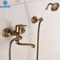 ULGKSD Wholesale And Retail Brass 20cm Pipe Outlet Bathroom Shower Faucet Single Handle With Hand Shower