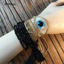 Rttooas MIYUKI Bracelet Handmade Woven Evil Eye Fashion Women Bracelet Set Street Cool Crystal Friendship Beads Bracelet Girls