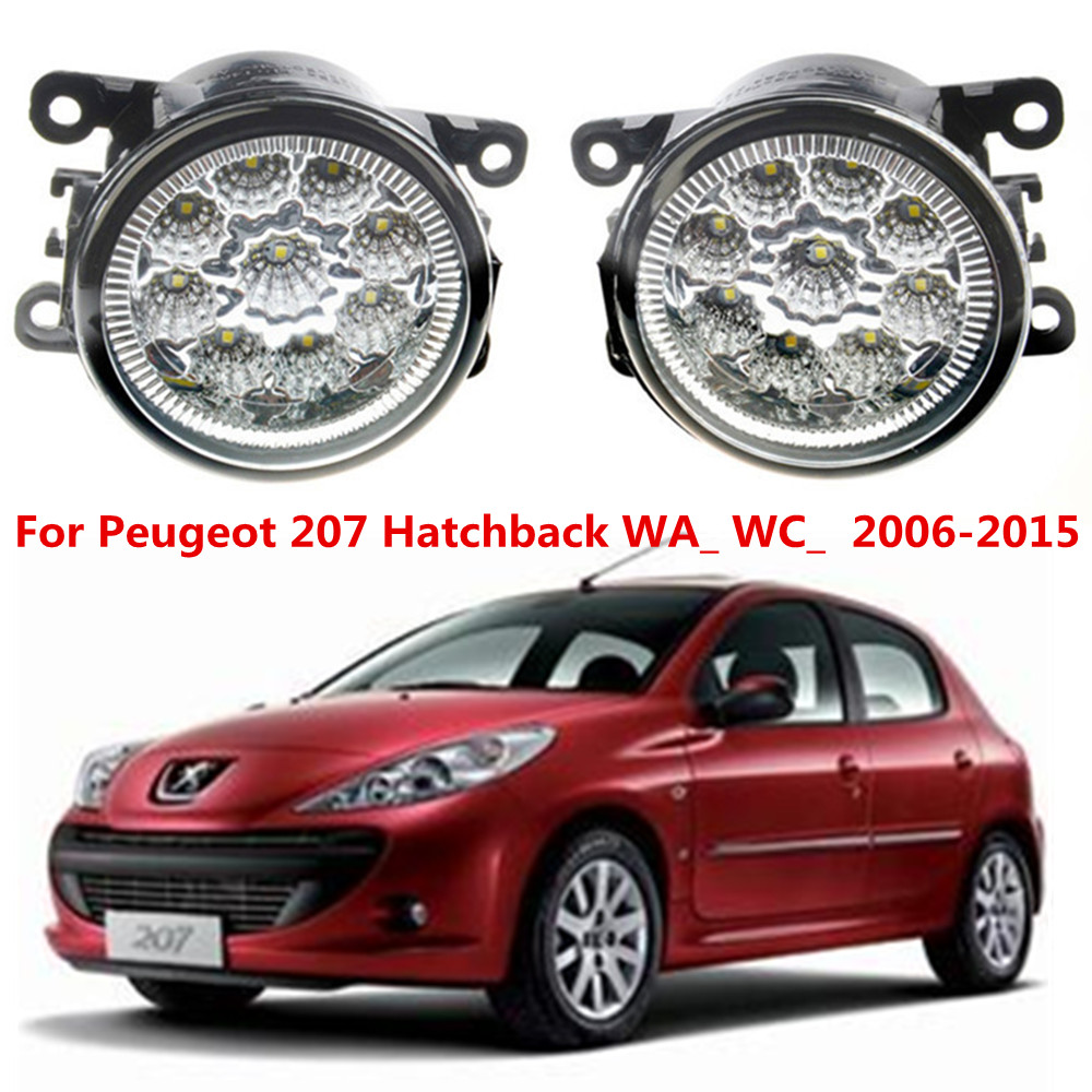 For Peugeot 207 Hatchback WA_ WC_  2006-2015 Car styling LED fog Lights high brightness fog lamps 1set for lexus rx gyl1 ggl15 agl10 450h awd 350 awd 2008 2013 car styling led fog lights high brightness fog lamps 1set