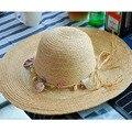 Раковины кольцо украшено - головной соломенные шляпы для женщины пляжный отдых солнцезащитный козырек шляпах ежедневные аксессуары 2016031417 u1
