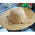 Seashell Ring Decorated Wide-brimmed Straw Hats For Women Holiday Beach Sun Visor Floppy Hats Daily Accessories 2016031417 u1