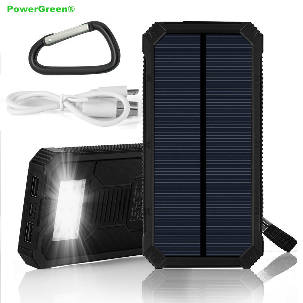 PowerGreen Cargador de Energía Solar 15000 mAh Banco de la Energía Solar Mini Pa