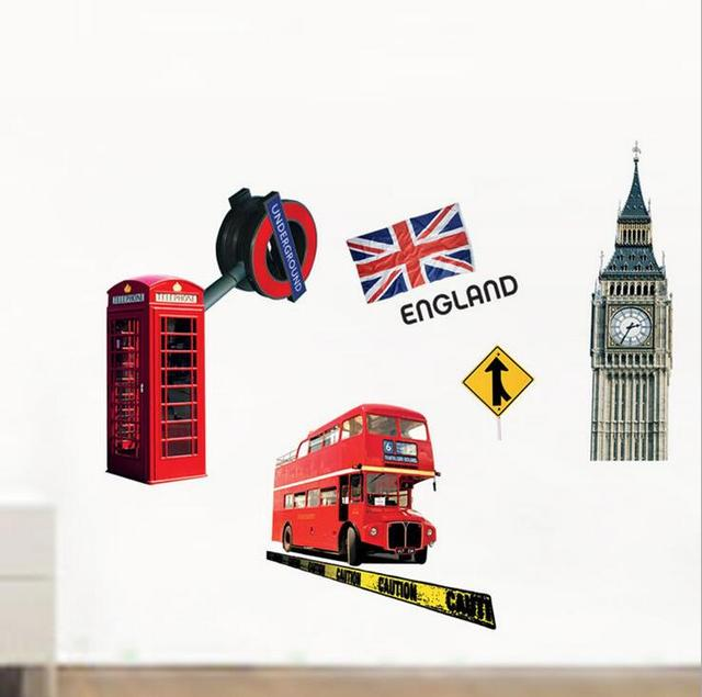 Diy london big ben double deck bus england flag spectacles for Decoration theme angleterre