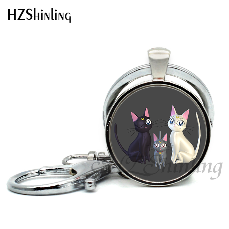 Sailor Moon Luna and Artemis Cat Keychain Keyring