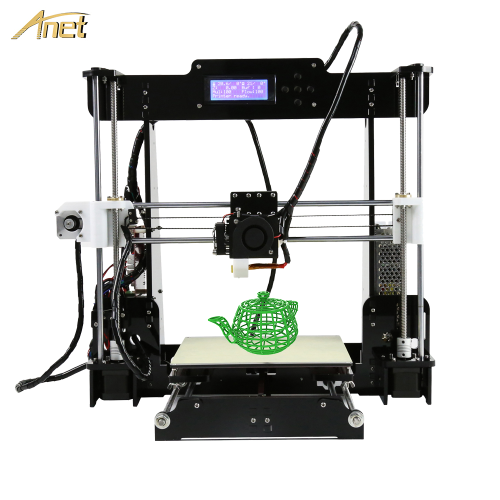 Anet A8 cheap 3d printer High Precision Extrusion nozzle Reprap Prusa I3 DIY Kit impressora 3d with PLA ABS Filament 8GB SD Card new 26pcs abs printed parts kit for reprap prusa i3 rework black pla 3d printer diy durable quality