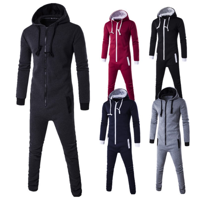 Jumpsuit Mens Hoodies Tracksuit Overalls Sweatshirt Long-Pants Casual For Male Romper