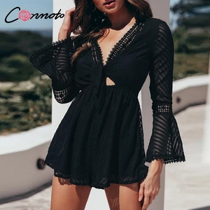 Image 2 - Conmoto Chiffon Summer Casual Summer Rompers Women Long Sleeve Baach Sexy Playsuits Transparent Hollow Out Jumpsuit Rompers 2019