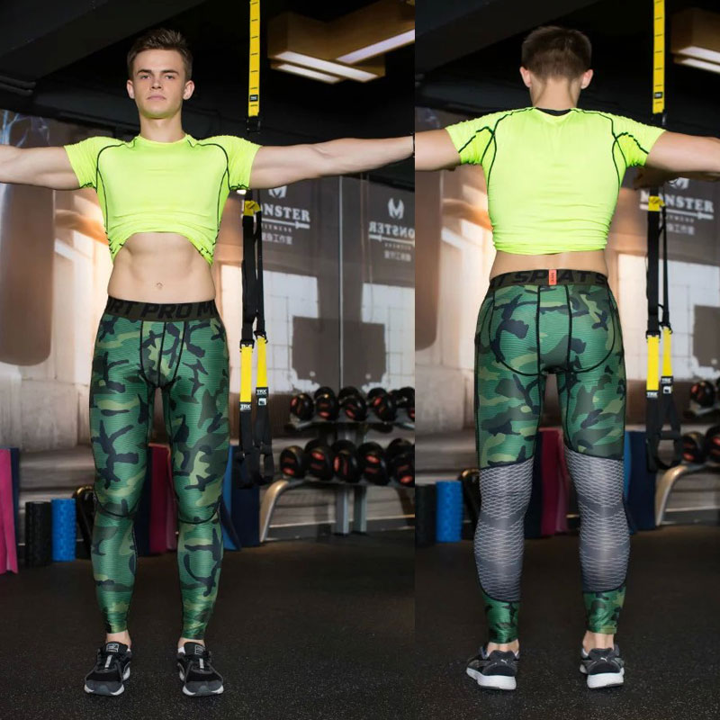 Mens Compression Pants 2016 17 New Crossfit Tights Men Bodybuilding Pants Trousers Camouflage Joggers