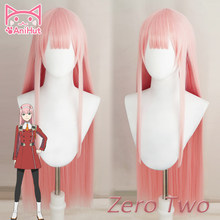 【Anihuto】 02 Zero Two Cosplay peluca Anime DARLING in the FRANXX Cosplay Peluca de pelo sintético Rosa 02 DARLING in the FRANXX mujeres(China)