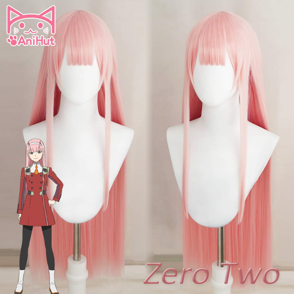 AniHut 02 Zero Two Cosplay Wig Anime DARLING In The FRANXX Cosplay Wig Pink Synthetic Hair 02 DARLING In The FRANXX Hair Women
