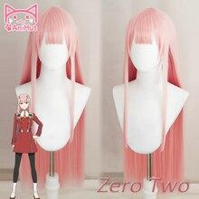 【AniHut】 02 Zero dwa peruka do Cosplay Anime DARLING in the FRANXX peruka do Cosplay różowy włosy syntetyczne 02 DARLING in the FRANXX włosy kobiety