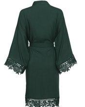 цена на YUXINBRIDAL Dark green Rayon New Solid Cotton Kimono Robes With Lace Trim Women Wedding Bridal Robe Short Belt Bathrobe