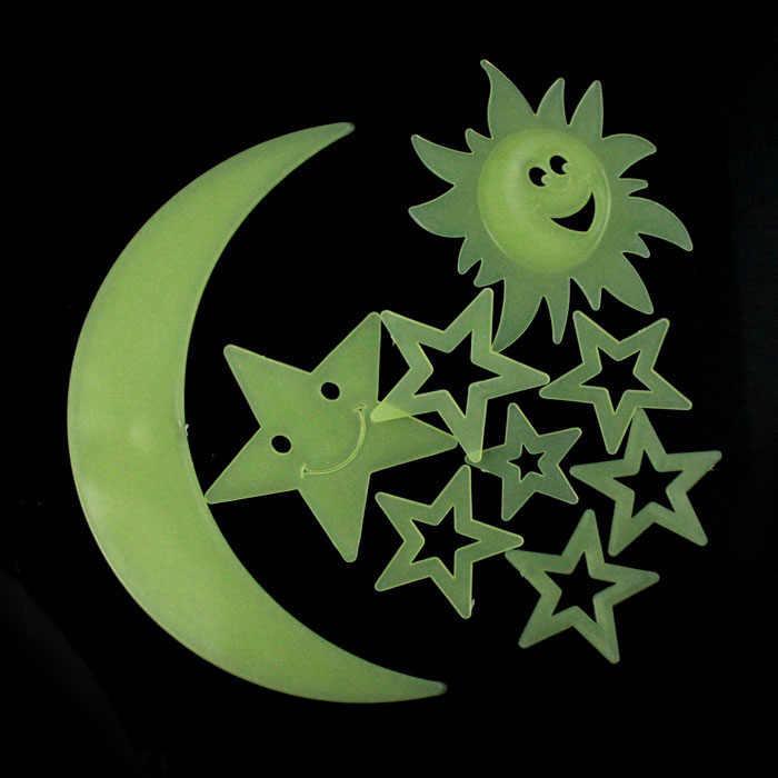 9 шт. Детские DIY настенные стикеры в виде звезд, Луны, солнца, светится в темноте светящаяся домашняя наклейка, декор для спальни, украшения для потолков, горячая Распродажа A30720