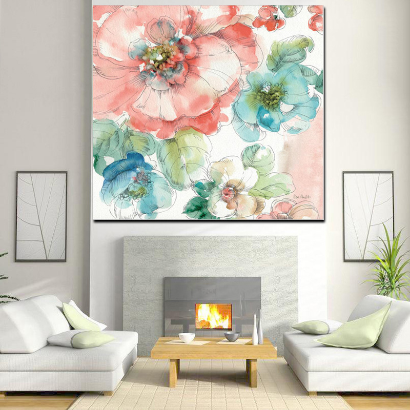 Watercolor Minimalist Poppy Artist Orchid Abstract Oil Painting Poster Print Canvas Wall Picture for Living Room Cuadros Decor