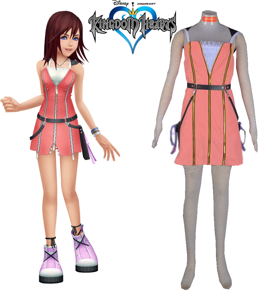 Free Shipping Kingdom Hearts 2 Kair Pink Dress Game Cosplay Costume