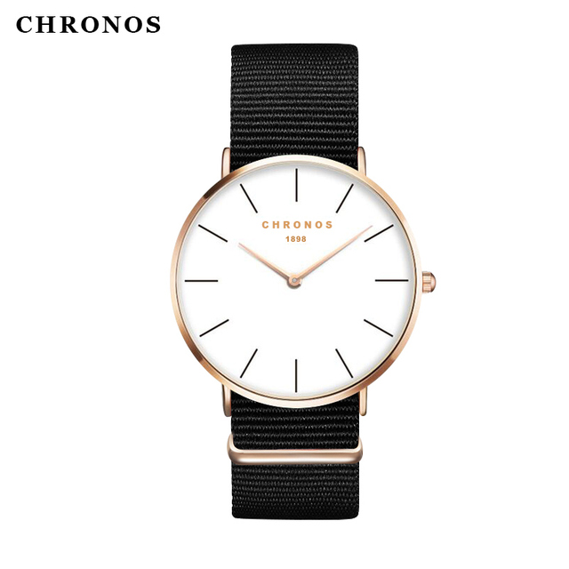 Chronos 1898 Women Men Ultra Thin Watch Nylon Band Female Clock Causal Simple An