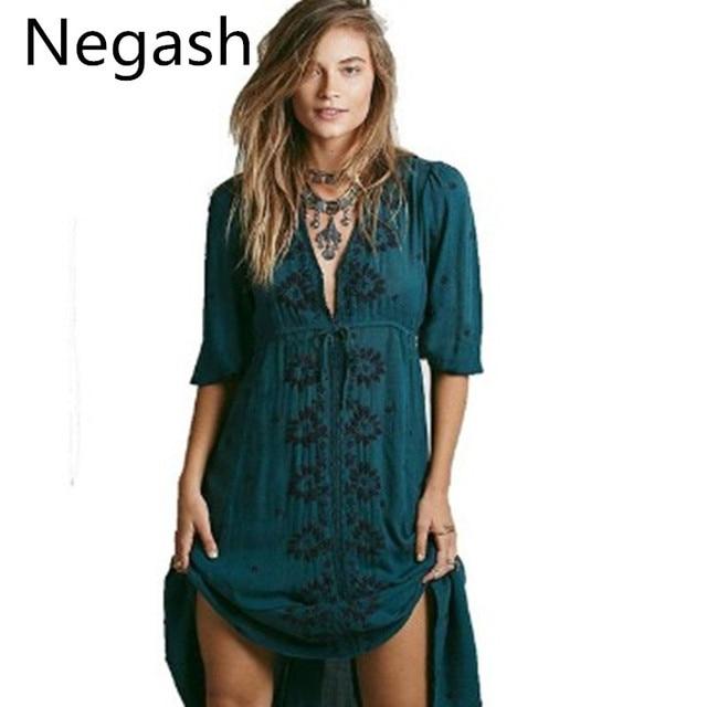 2a89e9f2b9 Dark green Long Dress Women Vintage Ethnic Flower Embroidered Tunic Casual  Long Dress Hippie Boho People Asymmetric Maxi Dress-in Dresses from Women s  ...