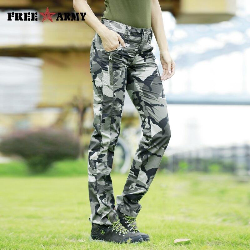 Military Camouflage Thin Summer Pants for Women Plus Size Jogger Pants Rivets Twill Cotton Pants Regular Women's Pants & Capris
