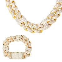 TOPGRILLZ 20mm New Lock Clasp Miami Cuban Chain with Bracelet & Necklace Set AAA Bling Cubic Zirconia CZ Hip hop Rock Jewelry