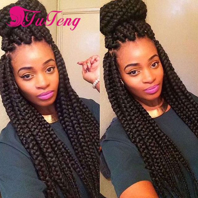 Box braids hair crochet braids havana mambo twist xpression braiding hair extension hair weave - Crochet braids avec xpression ...