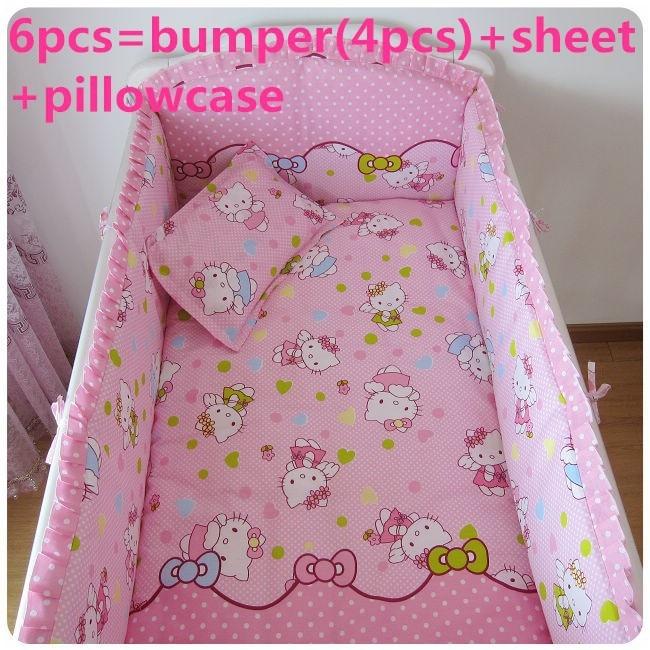 Promotion! 6/7PCS Cartoon Cotton Baby Crib Bedding Set for Girl Boys Cartoon Cat Newborn Baby Bed Linen , 120*60/120*70cm