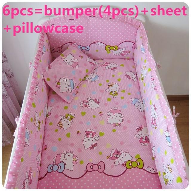 Promotion! 6/7PCS Hello Kitty Cotton Baby Crib Bedding Set for Girl Boys Cartoon Cat Newborn Baby Bed Linen ,  120*60/120*70cm