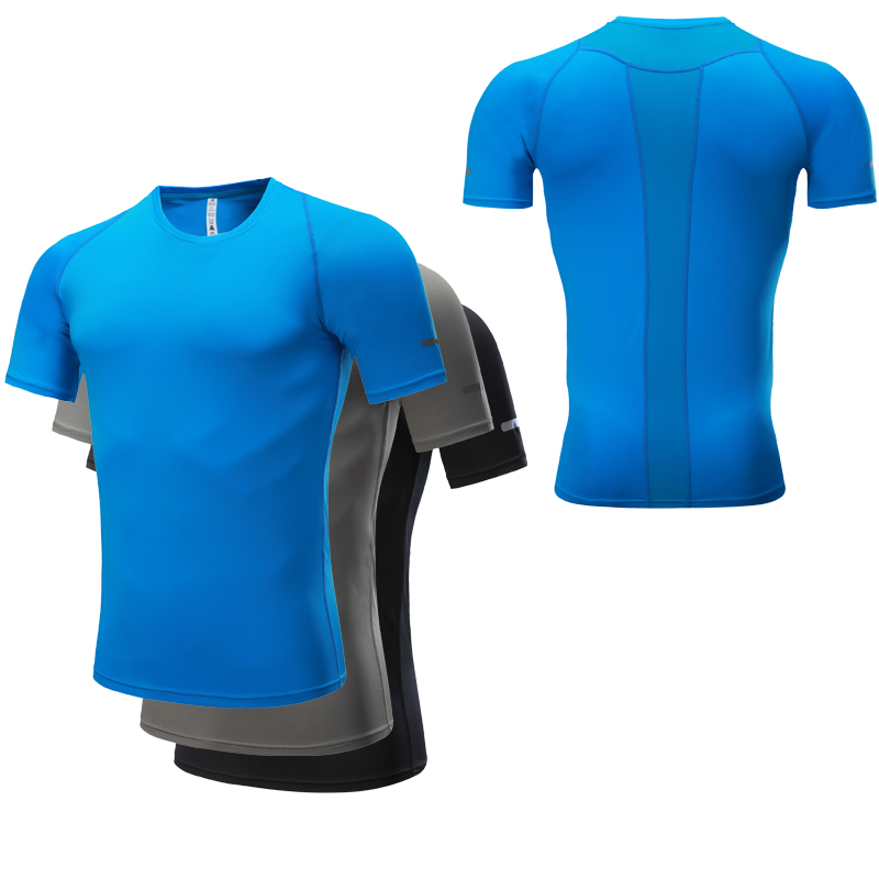 Bodybuilding Men Gym T-Shirt Short Sleeve Quick Dry Slim Running Fitness Sports Training Compression Tops Training Shirt 2018