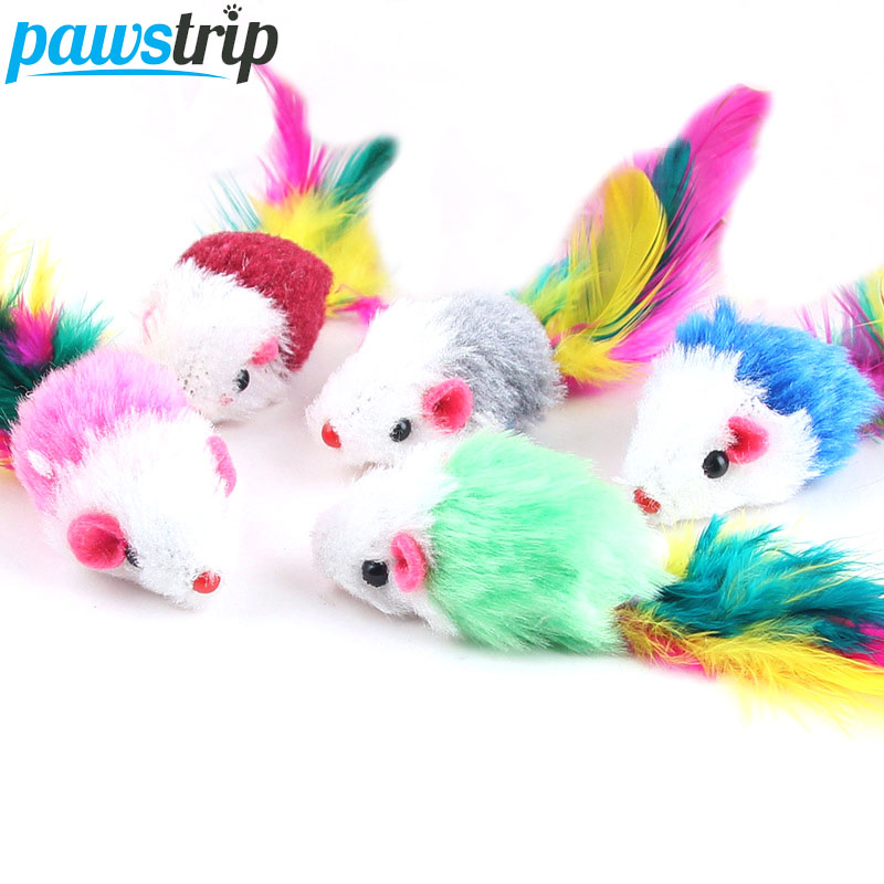 10Pcs/lot Soft Fleece False Mouse Cat Toys Colorful Feather Funny Playing Toys For Cats Kitten Interactive Ball Cat Toy Catnip(China)