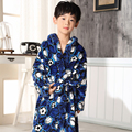 Children'S Bathrobes Printing football stars Winter Thicken Big boy Cartoon Lengthened Flannel Robes boy Kids Bathrobe 6-12years