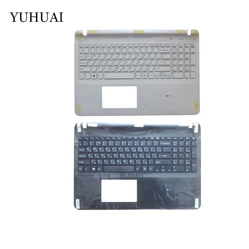 Laptop Russian keyboard for sony Vaio SVF15 SVF152 FIT15 SVF151 SVF153 SVF1541 SVF15E black/white RU with Palmrest Cover new laptop for sony svf15 fit15 svf151 svf152 svf153 svf1541 svf15e us black keyboard with frame palmrest touchpad cover