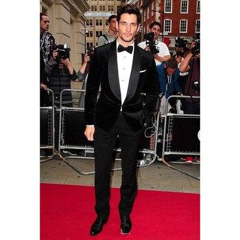Slim Fit Men Suit Costume Homme Smart Casual Black Velvet Coat (Jacket+Pants) Groom Blazers Mens Suits For Wedding Prom Regular