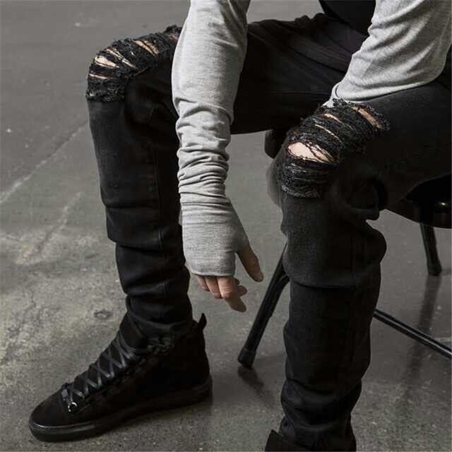 Moda hombre Jeans rasgados flacos negro Hip Hop Jeans pantalones delgadas pantalones vaqueros en dificultades más tamaño 28-36