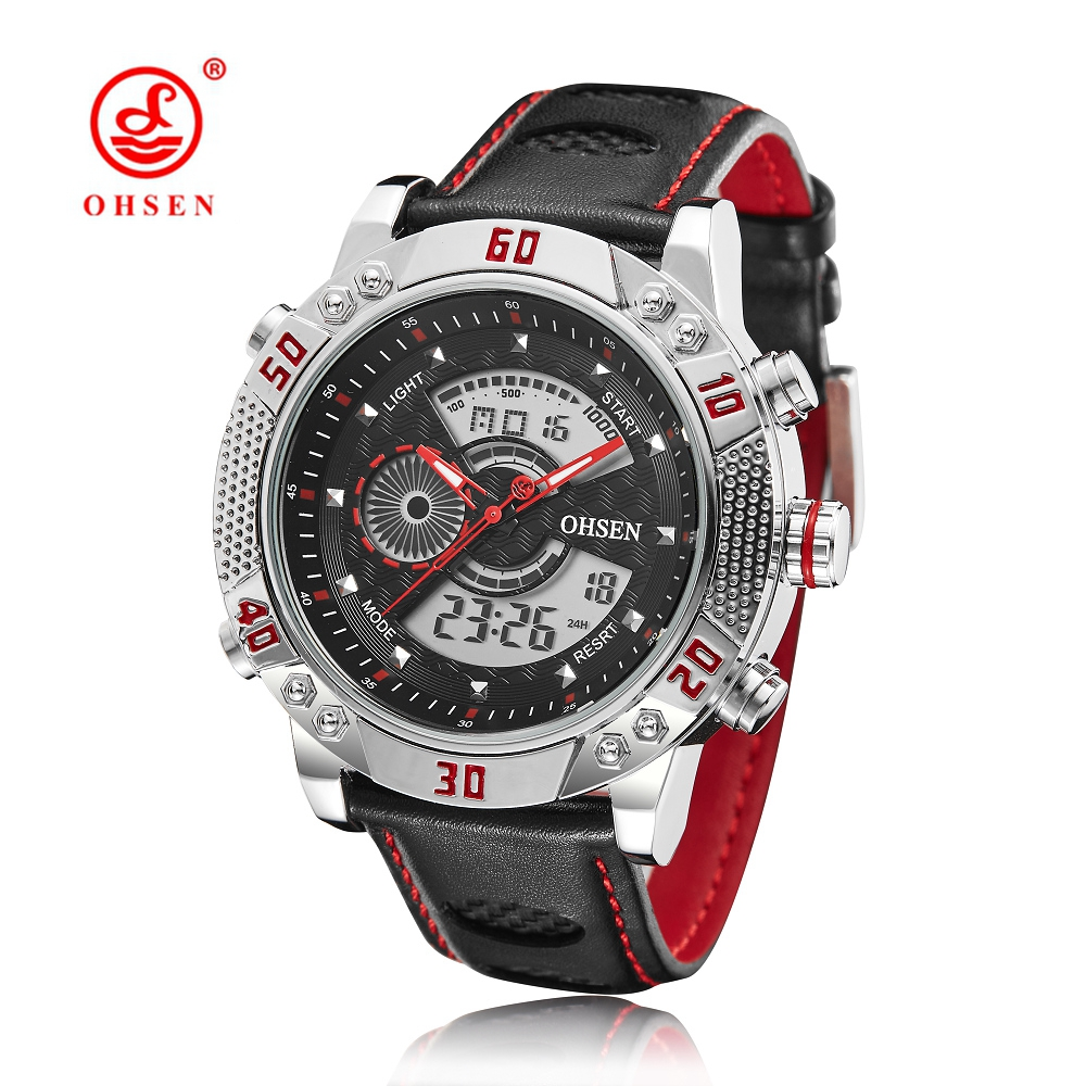 Original OHSEN Military Watches Men Sports Full Steel Quartz Watch Luxury Brand Waterproofed Diver Diving Watch