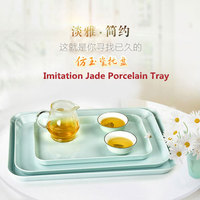 European Rectangular Cutlery Tray Imitation Jade Porcelain A8 Material Cake Tea Coffee Plate Kitchen Storage 3