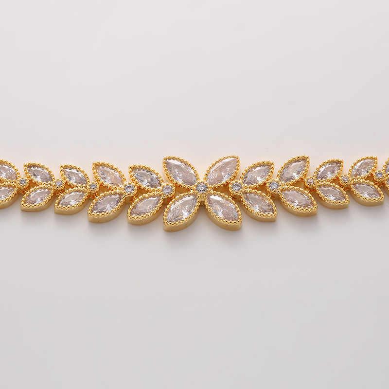 HADIYANA Thời Trang Mắt Hình Lá Zirconia Vật Có Hoa Vòng Cổ Choker Bộ Nữ New Trenday Cưới Bộ Trang Sức Dự Tiệc TZ8076