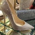 Moda Punta estrecha Zapatos de Novia Rhinestone de tacón alto Zapatos de Un Solo Diamante Tacones Delgados Bombean Los Zapatos Del Banquete de Boda de Baile