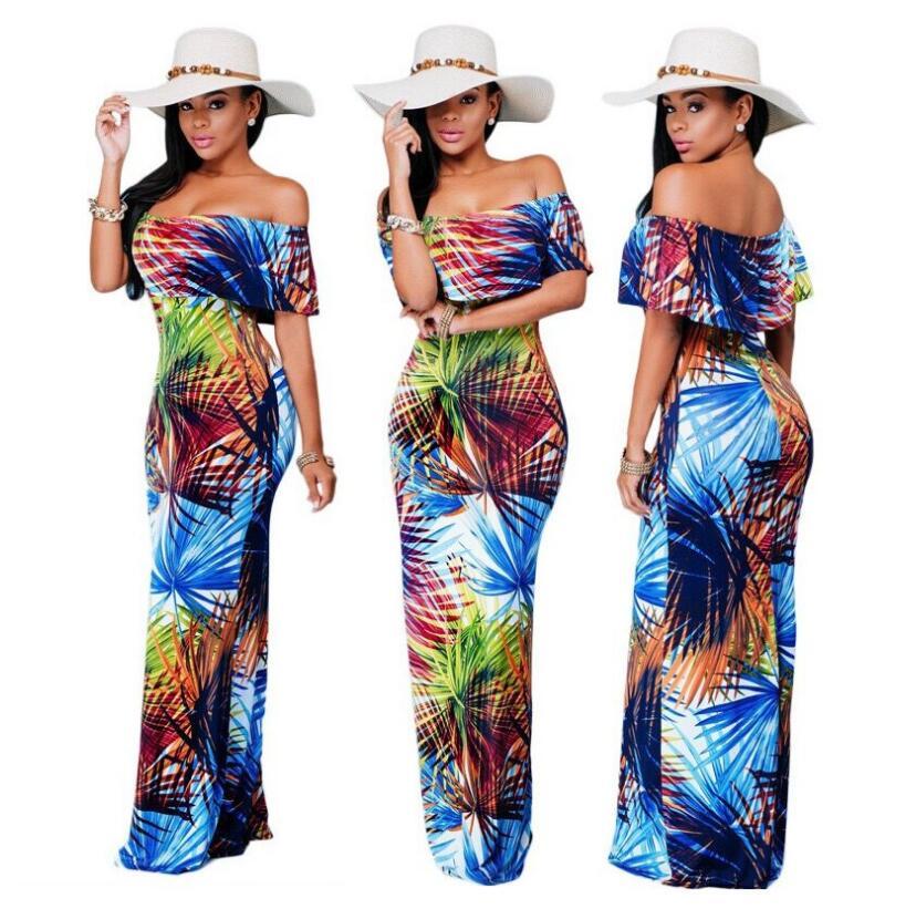 c85df4eb2c4d7 US $24.99 |2017 New Fashion Hawaii Style Floral Print Slash Neck Slim Fit  Dress Maxi Dress-in Dresses from Women's Clothing on Aliexpress.com | ...