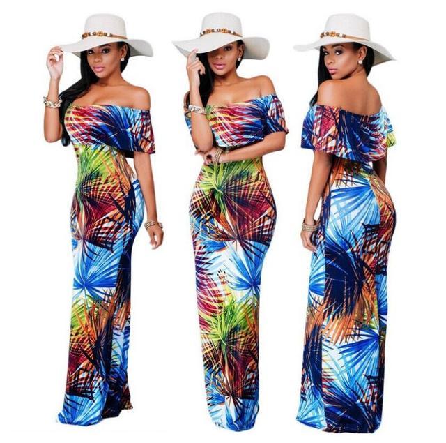 311dd227d36b08 2017 nieuwe mode hawaii stijl bloemenprint slash hals slim fit dress maxi  dress