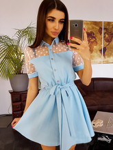 Summer Dress 2019 New Women Dot Lace Patchwork Dress Turn-Down Collar Sashes Mini Dress Elegant Short A-Line Dress long sleeved dress women 2019 spring summer new simple stripes turn down collar slim a line casual elegant dress midi s xl