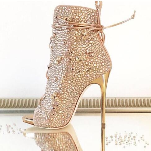 Luxury Gold Crystal Ankle Boots Peep Toe Lace-up Short Bootie Women Dress Shoes High Heel Glatiator Sandals Boots Size 10 2017 fall winter blue denim short sandal boots front back lace up open toe ankle boots brown black high heel high top sandals