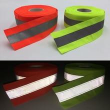 50mmX5m Fluorescent yellow&Fluorescent Orange Reflective Fabric Tape Sew On safe clothing