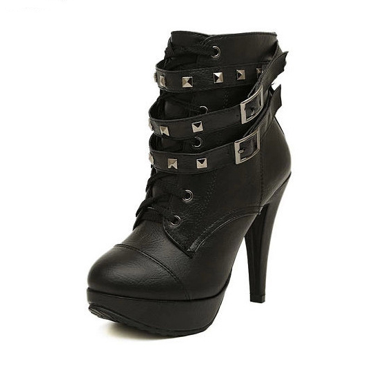 Осенне-зимние кожаные Спайк теплые женские ботильоны на высоком тонком каблуке пикантные Для женщин ботинки «мартенс» для женщин большие размеры только 1 пара