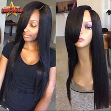 Full Lace Human Hair Wigs With Bangs Brazilian Virgin Straight Lace Front Human Hair Wigs For Black Women Glueless Full Lace Wig