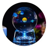 8cm Laser Engraved Solar System 3D Crystal Ball Simulation Miniature Planet with LED Lighting Base Kids Birthday Gift Decoration