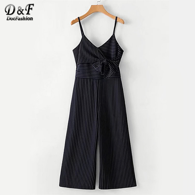 d77d014fb4aa Dotfashion Bow Tie Striped Cami Navy Jumpsuit Female Wrap Knot Zipper  Spring Autumn Girls Sleeveless V