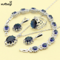 XUTAAYI Blue Synthetic Sapphire Fashion 925 Silver Jewelry  Sets Superior Necklace Rings Earrings Bracelet