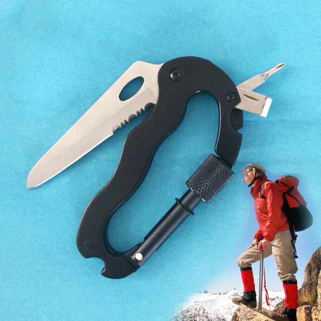 High Quality 5 In 1 Outdoor Survival Steel Camping Climbing Multifunctional Knife Screwdrivers Carabiner Free Shipping