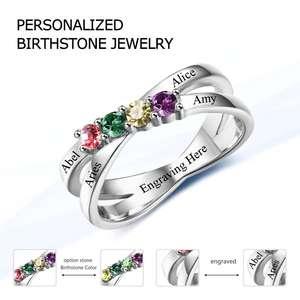 Image 3 - ครอบครัวมิตรภาพแหวนแกะสลักชื่อที่กำหนดเอง 4 Birthstone 925 เงินสเตอร์ลิงแม่แหวนสำหรับแม่ (JewelOra RI102509)