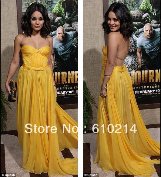 07bda2cb591d Vanessa Hudgens Sexy Yellow Celebrity Inspired Dresses Strapless Floor  Length Pleated Chiffon Designer Evening Prom Gowns